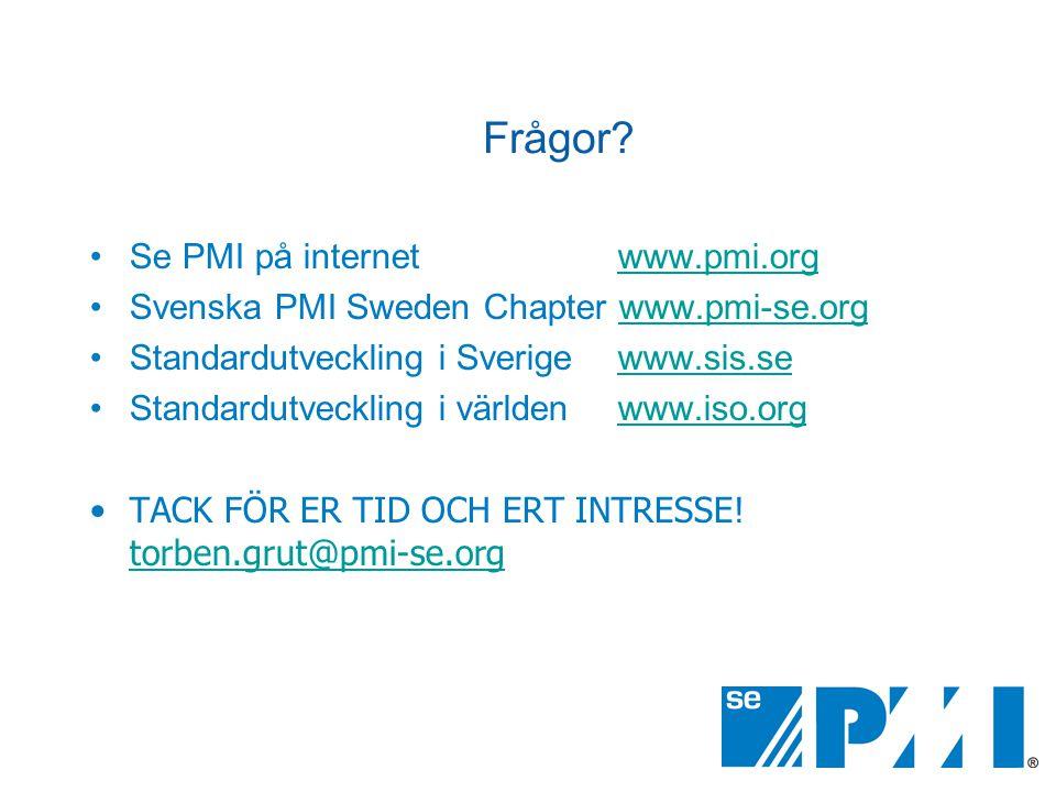 Frågor? •Se PMI på internet www.pmi.orgwww.pmi.org •Svenska PMI Sweden Chapter www.pmi-se.orgwww.pmi-se.org •Standardutveckling i Sverige www.sis.seww
