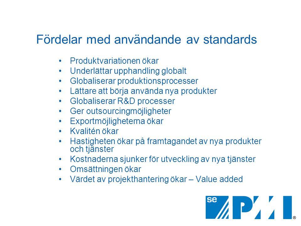 Fördelar med användande av standards •Produktvariationen ökar •Underlättar upphandling globalt •Globaliserar produktionsprocesser •Lättare att börja a