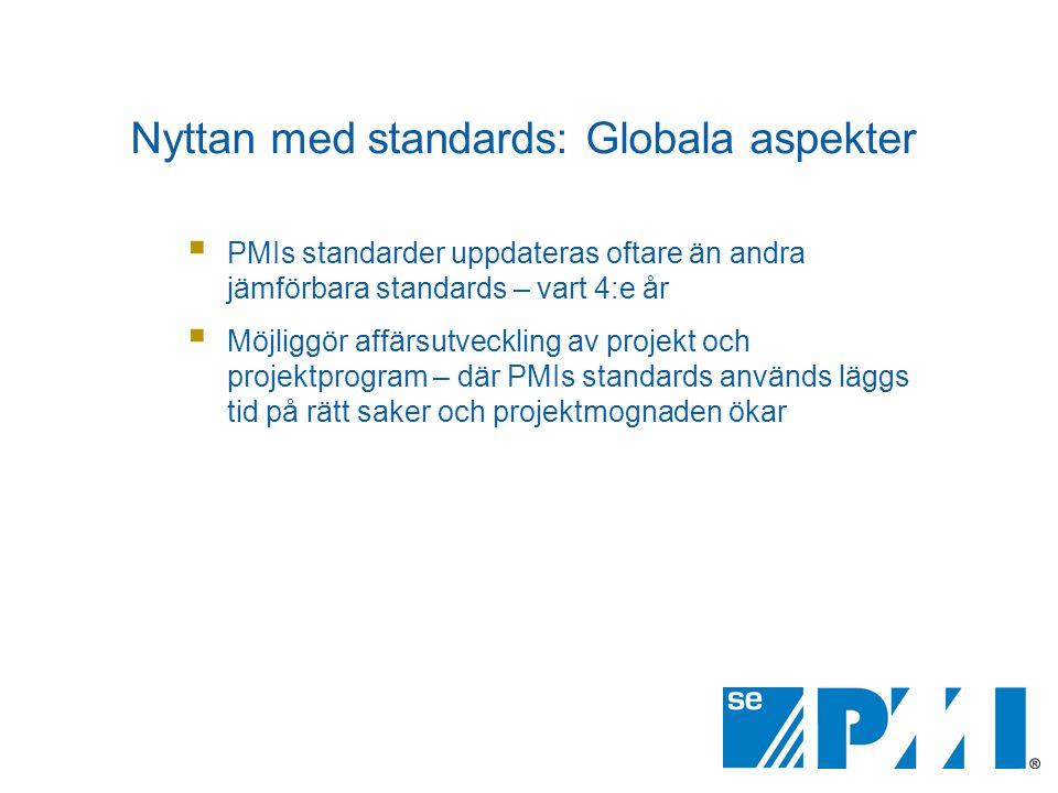  PMIs standarder uppdateras oftare än andra jämförbara standards – vart 4:e år  Möjliggör affärsutveckling av projekt och projektprogram – där PMIs