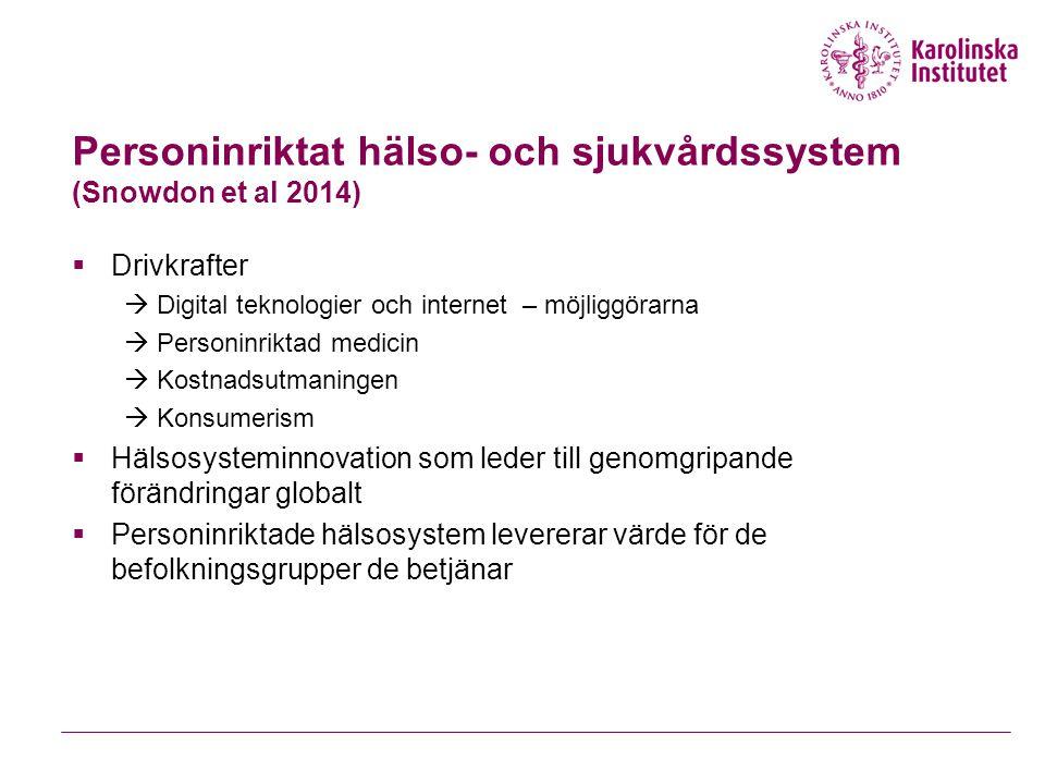 Personinriktat hälso- och sjukvårdssystem (Snowdon et al 2014)  Drivkrafter  Digital teknologier och internet – möjliggörarna  Personinriktad medicin  Kostnadsutmaningen  Konsumerism  Hälsosysteminnovation som leder till genomgripande förändringar globalt  Personinriktade hälsosystem levererar värde för de befolkningsgrupper de betjänar