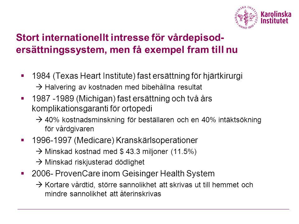 Stort internationellt intresse för vårdepisod- ersättningssystem, men få exempel fram till nu  1984 (Texas Heart Institute) fast ersättning för hjärtkirurgi  Halvering av kostnaden med bibehållna resultat  1987 -1989 (Michigan) fast ersättning och två års komplikationsgaranti för ortopedi  40% kostnadsminskning för beställaren och en 40% intäktsökning för vårdgivaren  1996-1997 (Medicare) Kranskärlsoperationer  Minskad kostnad med $ 43.3 miljoner (11.5%)  Minskad riskjusterad dödlighet  2006- ProvenCare inom Geisinger Health System  Kortare vårdtid, större sannolikhet att skrivas ut till hemmet och mindre sannolikhet att återinskrivas