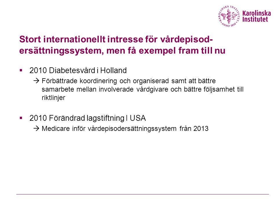Stort internationellt intresse för vårdepisod- ersättningssystem, men få exempel fram till nu  2010 Diabetesvård i Holland  Förbättrade koordinering och organiserad samt att bättre samarbete mellan involverade vårdgivare och bättre följsamhet till riktlinjer  2010 Förändrad lagstiftning I USA  Medicare inför vårdepisodersättningssystem från 2013