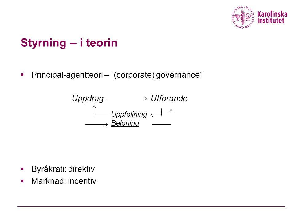 Styrning – i teorin  Principal-agentteori – (corporate) governance  Byråkrati: direktiv  Marknad: incentiv UppdragUtförande Uppföljning Belöning