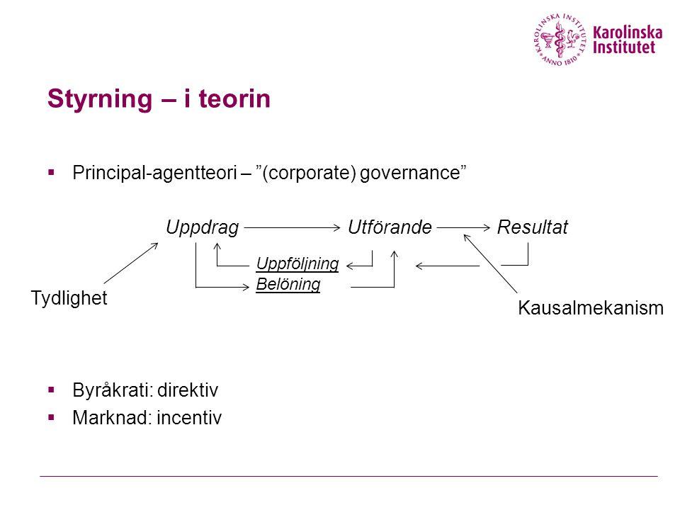 Styrning – i teorin  Principal-agentteori – (corporate) governance  Byråkrati: direktiv  Marknad: incentiv UppdragUtförande Uppföljning Belöning Tydlighet Kausalmekanism Resultat