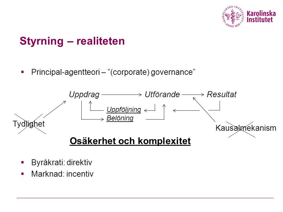 Styrning – realiteten  Principal-agentteori – (corporate) governance  Byråkrati: direktiv  Marknad: incentiv UppdragUtförande Uppföljning Belöning Tydlighet Kausalmekanism Resultat Osäkerhet och komplexitet