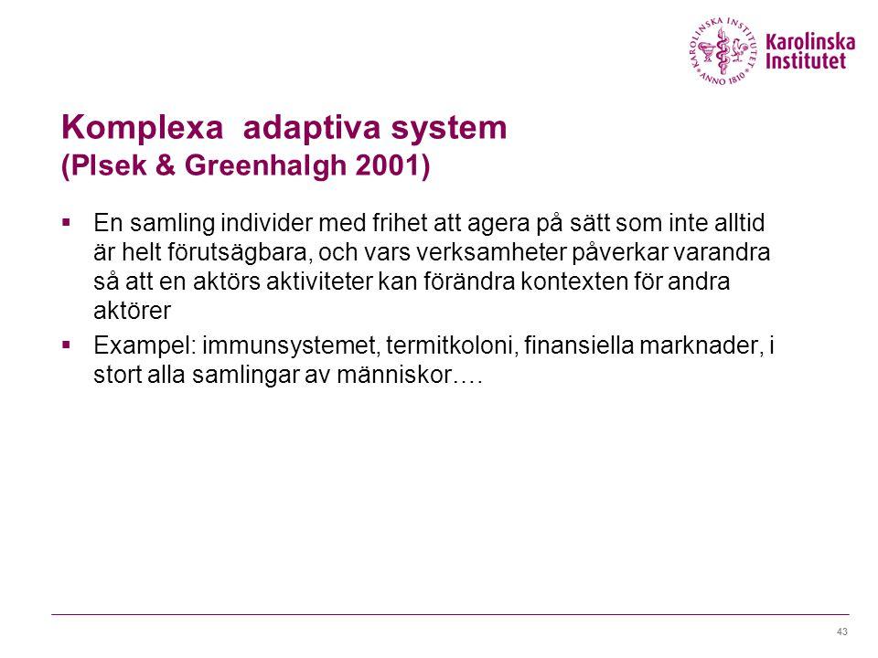 Komplexa adaptiva system (Plsek & Greenhalgh 2001)  En samling individer med frihet att agera på sätt som inte alltid är helt förutsägbara, och vars verksamheter påverkar varandra så att en aktörs aktiviteter kan förändra kontexten för andra aktörer  Exampel: immunsystemet, termitkoloni, finansiella marknader, i stort alla samlingar av människor….