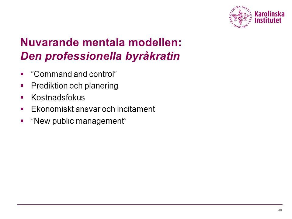 Nuvarande mentala modellen: Den professionella byråkratin  Command and control  Prediktion och planering  Kostnadsfokus  Ekonomiskt ansvar och incitament  New public management 48