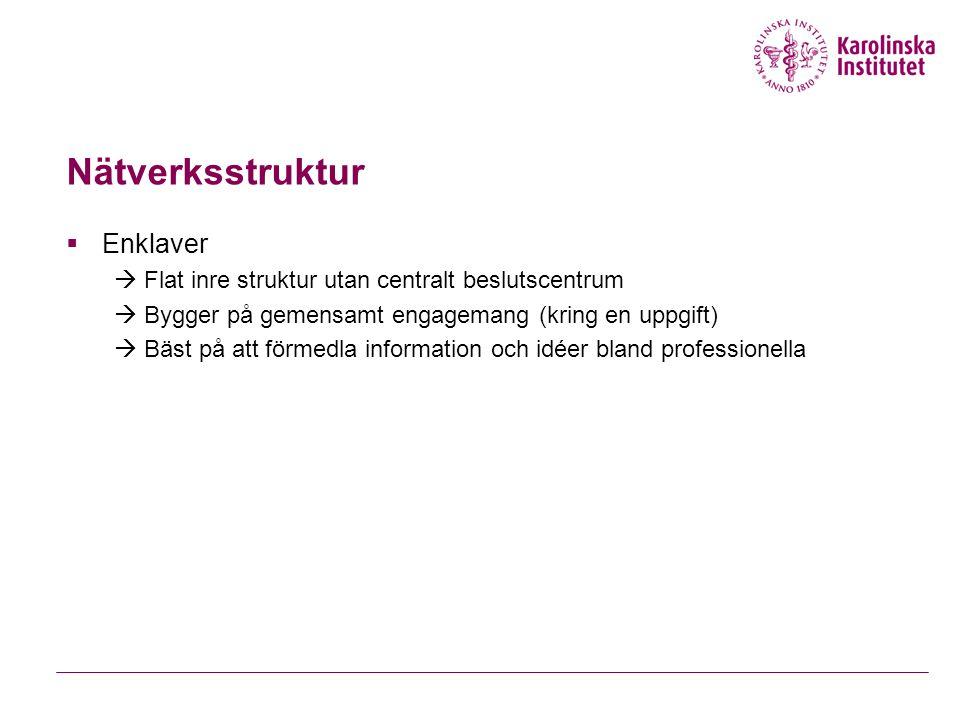 Nätverksstruktur  Enklaver  Flat inre struktur utan centralt beslutscentrum  Bygger på gemensamt engagemang (kring en uppgift)  Bäst på att förmedla information och idéer bland professionella