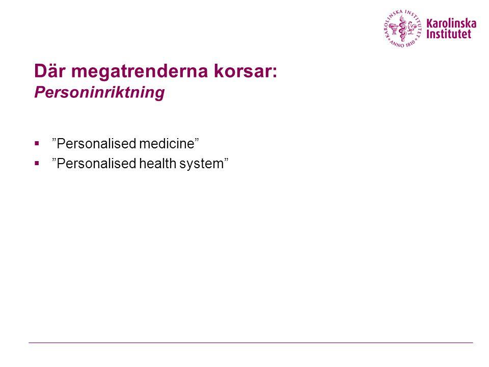 Där megatrenderna korsar: Personinriktning  Personalised medicine  Personalised health system