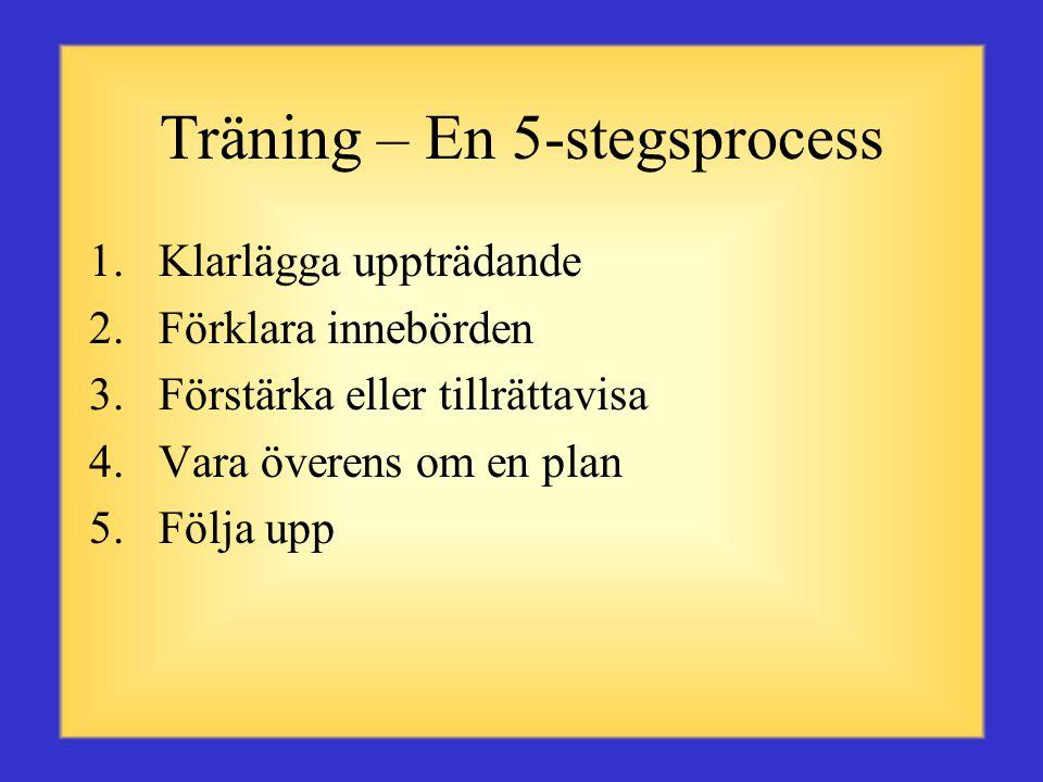 Effektiva tränares egenskaper •Skapar en trygg och komfortabel miljö •Arbetar med kraft för att påverka förbättring och individuell tillfredsställelse •Kommunicerar för att utveckla förståelse och respekt •Följer upp ömsesidigt överenskomna mål- sättningar