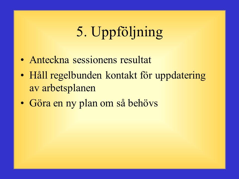 4. Komma överens om en plan •Komma överens om problemets orsak eller anledning till framgång •Diskutera en lösning gemensamt •Tillsammans göra en arbe