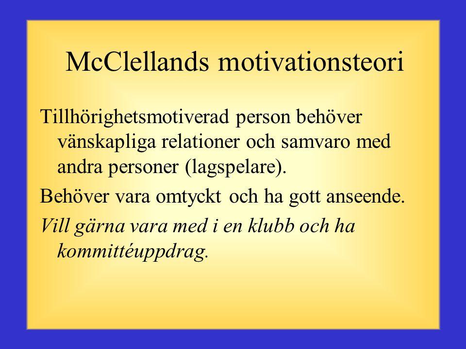 David McClellands teori om motivation Under sina 20 års studier fastställde McClelland tre typer av motivations- behov: Tillhörighet, kraft eller aukt