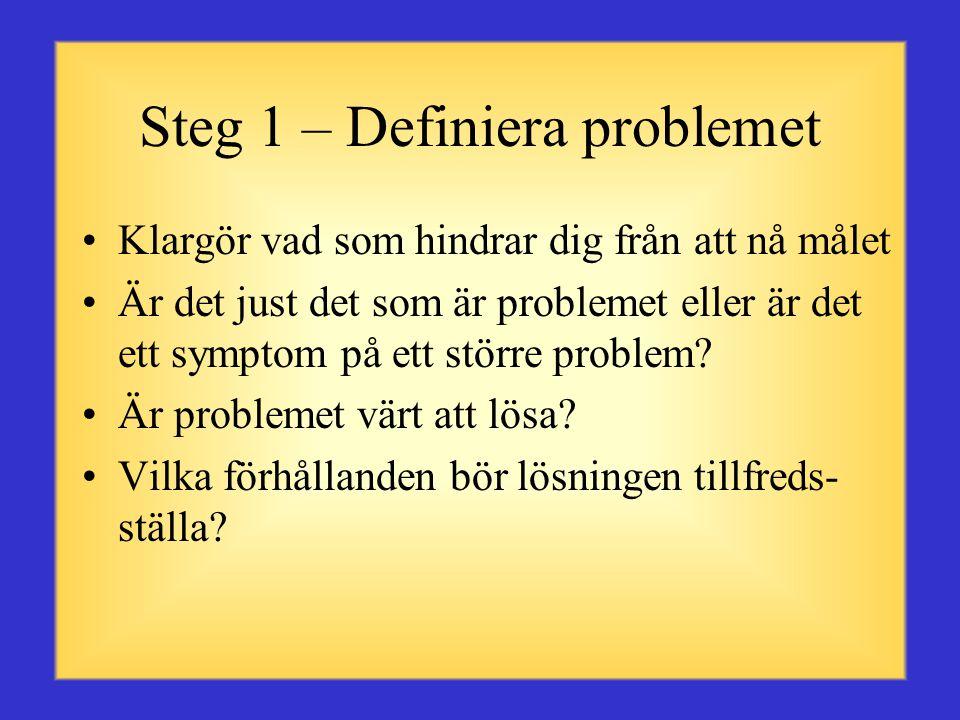 Problemlösningsprocess Problemlösning är en viktig tankeprocess som används när en person eller grupp av personer inte vet hur man går från ett givet läge till ett önskat resultat.