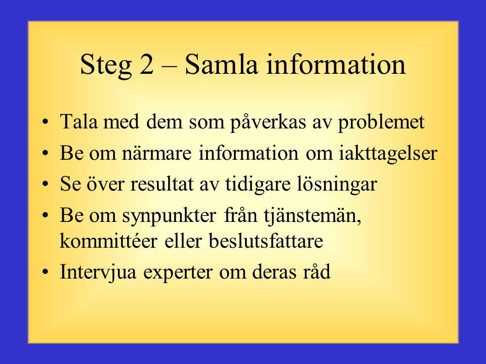 Steg 1 – Definiera problemet •Klargör vad som hindrar dig från att nå målet •Är det just det som är problemet eller är det ett symptom på ett större problem.