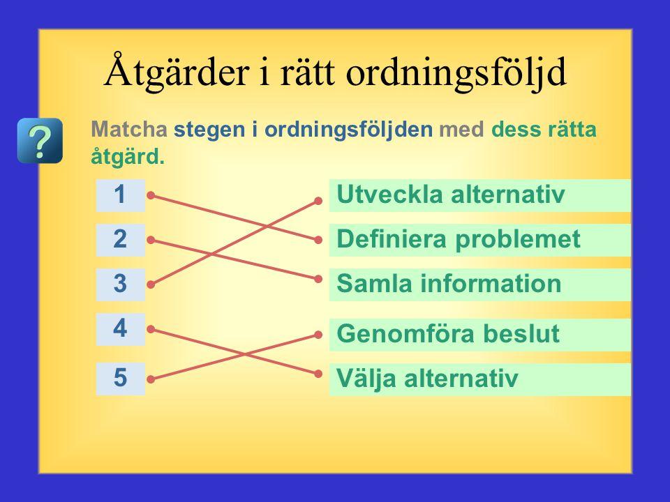 Frågor om problemlösning Börja med den första frågan eller valet till vänster. Klicka på det svar du anser vara rätt. När du har klickat kommer det rä