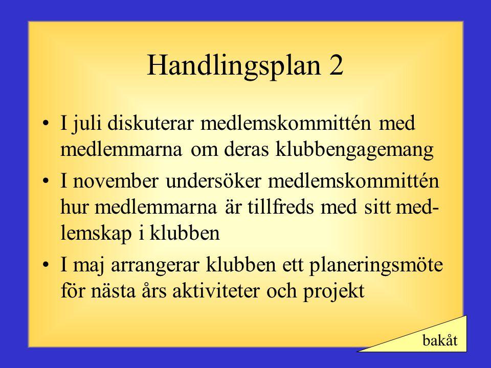 Handlingsplan 1 •Medlemmar inbjuder potentiella medlemmar att hjälpa till vid ett projekt i september •Medlemskommittén organiserar ett informellt öpp