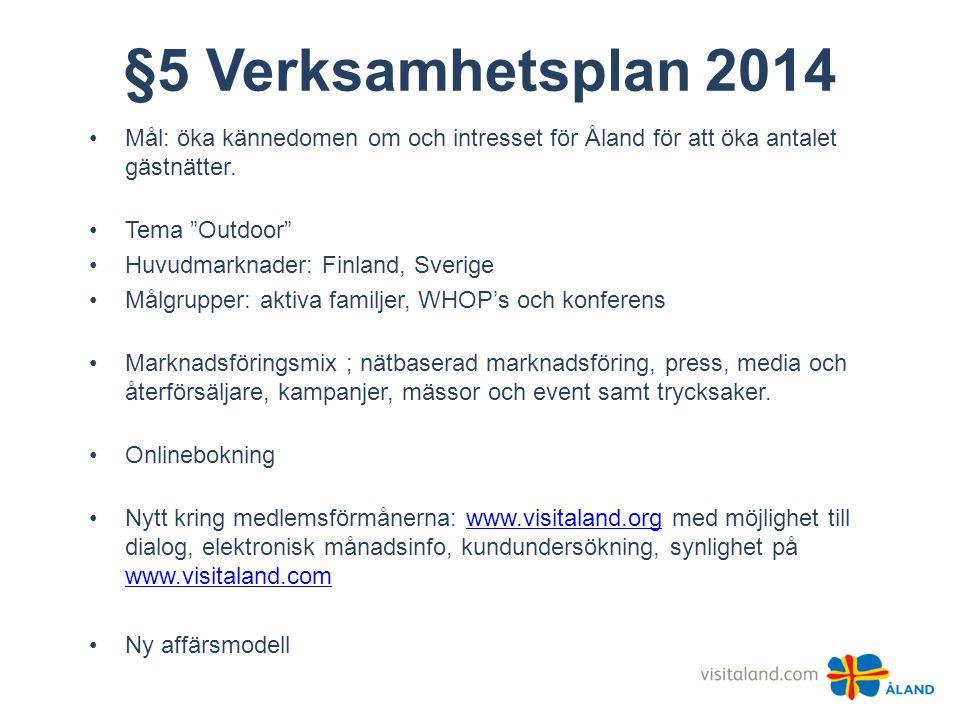 """§5 Verksamhetsplan 2014 •Mål: öka kännedomen om och intresset för Åland för att öka antalet gästnätter. •Tema """"Outdoor"""" •Huvudmarknader: Finland, Sver"""