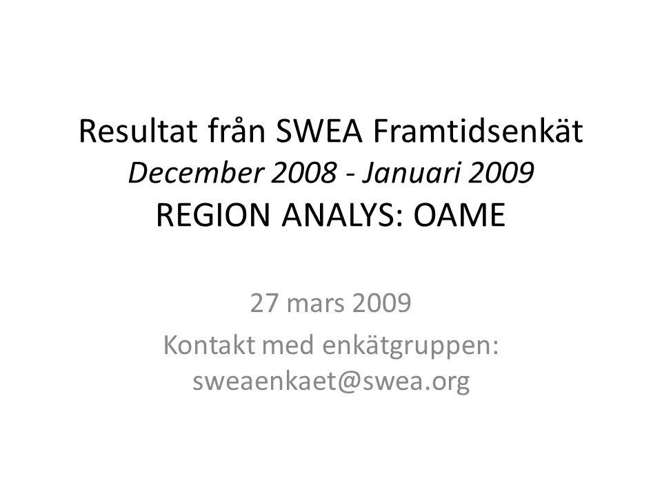 Resultat från SWEA Framtidsenkät December 2008 - Januari 2009 REGION ANALYS: OAME 27 mars 2009 Kontakt med enkätgruppen: sweaenkaet@swea.org