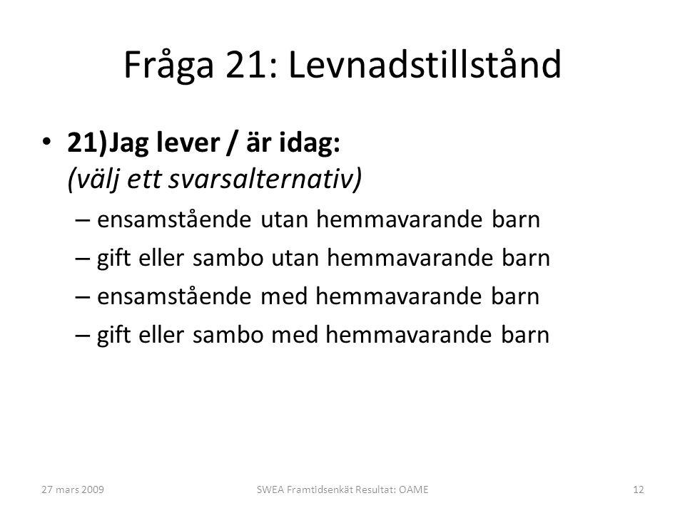Fråga 21: Levnadstillstånd • 21)Jag lever / är idag: (välj ett svarsalternativ) – ensamstående utan hemmavarande barn – gift eller sambo utan hemmavar
