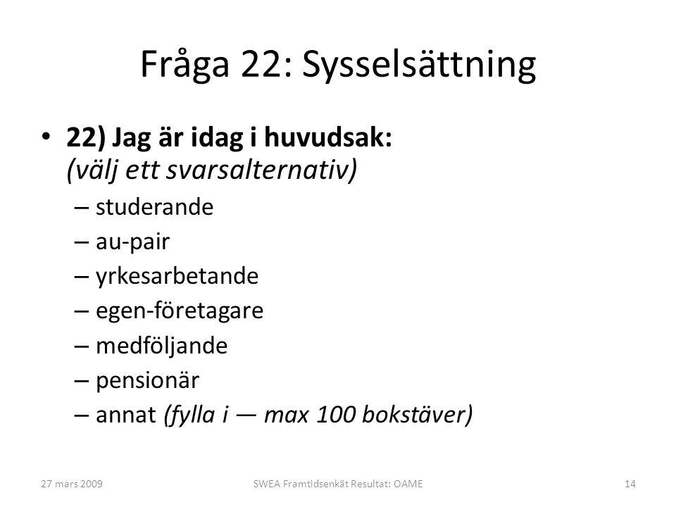 Fråga 22: Sysselsättning • 22) Jag är idag i huvudsak: (välj ett svarsalternativ) – studerande – au-pair – yrkesarbetande – egen-företagare – medföljande – pensionär – annat (fylla i — max 100 bokstäver) 27 mars 2009SWEA Framtidsenkät Resultat: OAME14
