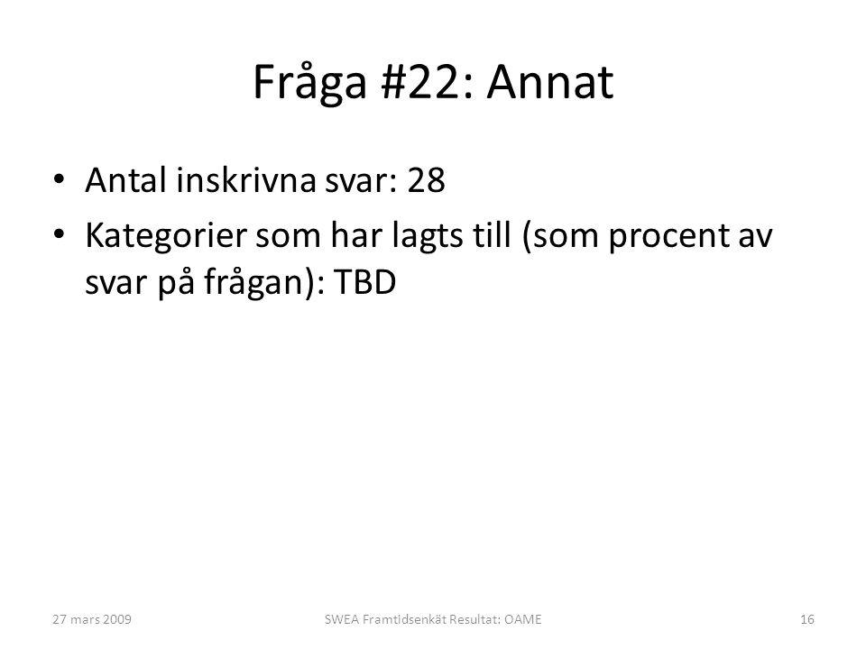 Fråga #22: Annat • Antal inskrivna svar: 28 • Kategorier som har lagts till (som procent av svar på frågan): TBD 27 mars 2009SWEA Framtidsenkät Result