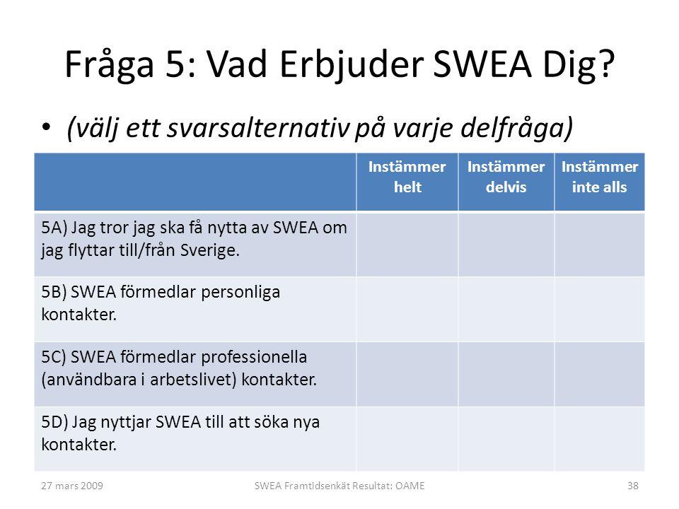 Fråga 5: Vad Erbjuder SWEA Dig? • (välj ett svarsalternativ på varje delfråga) Instämmer helt Instämmer delvis Instämmer inte alls 5A) Jag tror jag sk