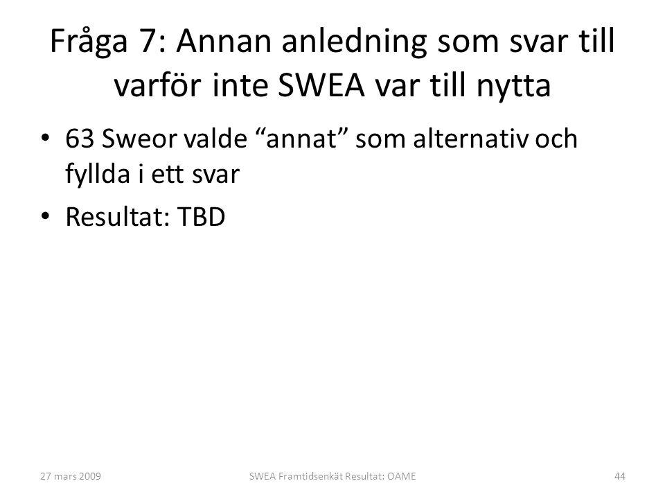Fråga 7: Annan anledning som svar till varför inte SWEA var till nytta • 63 Sweor valde annat som alternativ och fyllda i ett svar • Resultat: TBD 27 mars 200944SWEA Framtidsenkät Resultat: OAME