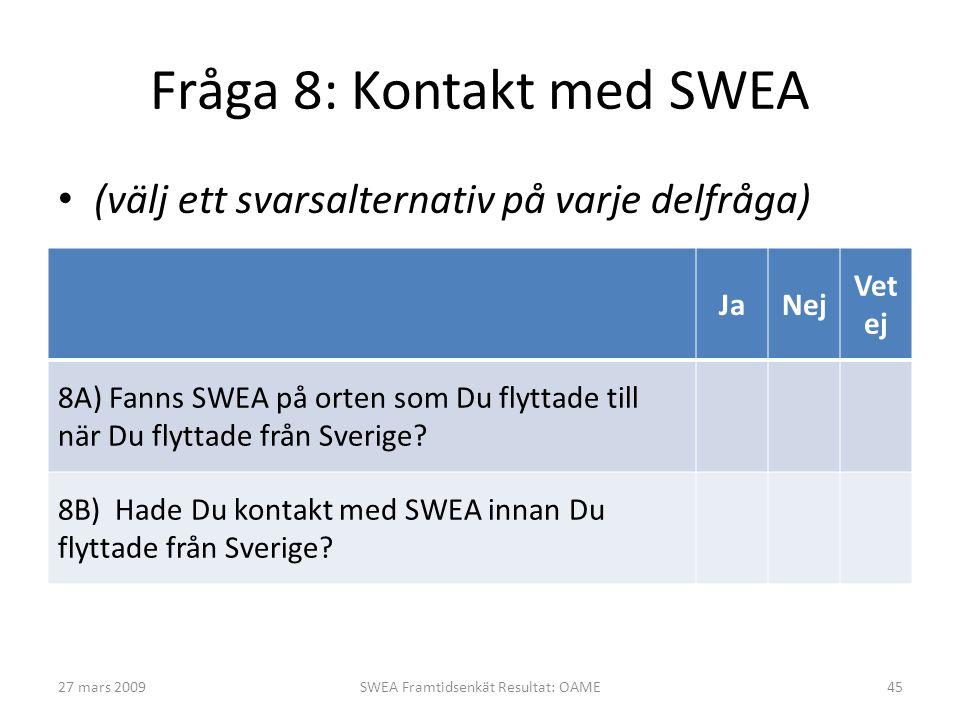 Fråga 8: Kontakt med SWEA • (välj ett svarsalternativ på varje delfråga) JaNej Vet ej 8A) Fanns SWEA på orten som Du flyttade till när Du flyttade frå