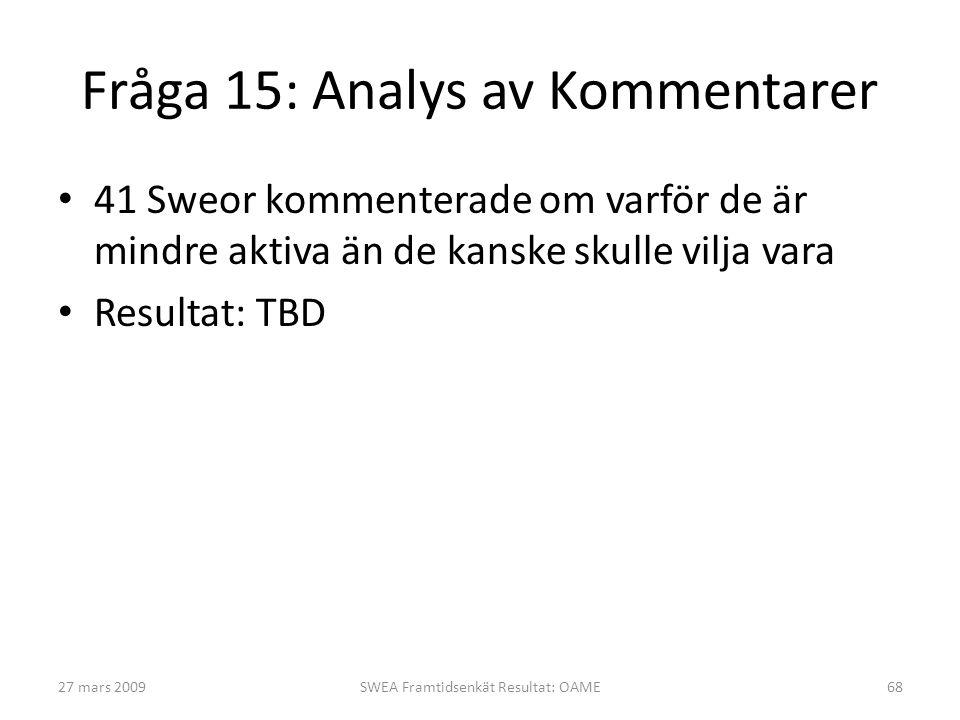 Fråga 15: Analys av Kommentarer • 41 Sweor kommenterade om varför de är mindre aktiva än de kanske skulle vilja vara • Resultat: TBD 27 mars 2009SWEA