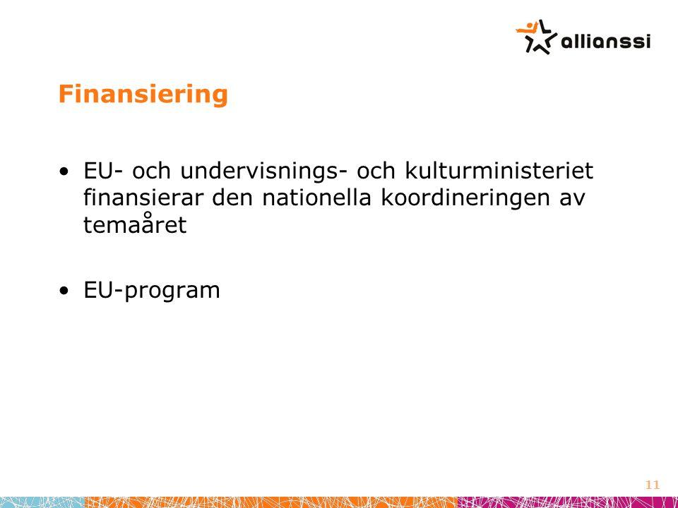 Finansiering •EU- och undervisnings- och kulturministeriet finansierar den nationella koordineringen av temaåret •EU-program 11