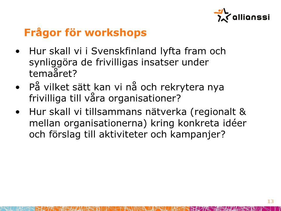 Frågor för workshops •Hur skall vi i Svenskfinland lyfta fram och synliggöra de frivilligas insatser under temaåret.