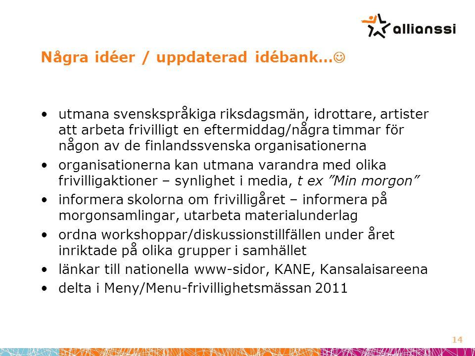 Några idéer / uppdaterad idébank…  •utmana svenskspråkiga riksdagsmän, idrottare, artister att arbeta frivilligt en eftermiddag/några timmar för någon av de finlandssvenska organisationerna •organisationerna kan utmana varandra med olika frivilligaktioner – synlighet i media, t ex Min morgon •informera skolorna om frivilligåret – informera på morgonsamlingar, utarbeta materialunderlag •ordna workshoppar/diskussionstillfällen under året inriktade på olika grupper i samhället •länkar till nationella www-sidor, KANE, Kansalaisareena •delta i Meny/Menu-frivillighetsmässan 2011 14