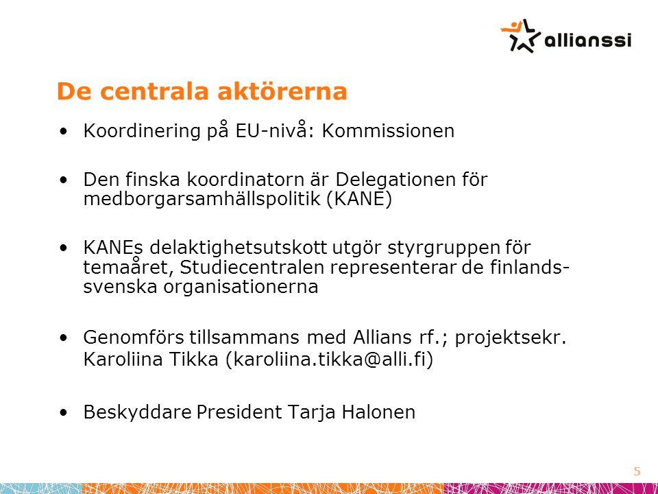 De centrala aktörerna •Koordinering på EU-nivå: Kommissionen •Den finska koordinatorn är Delegationen för medborgarsamhällspolitik (KANE) •KANEs delaktighetsutskott utgör styrgruppen för temaåret, Studiecentralen representerar de finlands- svenska organisationerna •Genomförs tillsammans med Allians rf.; projektsekr.