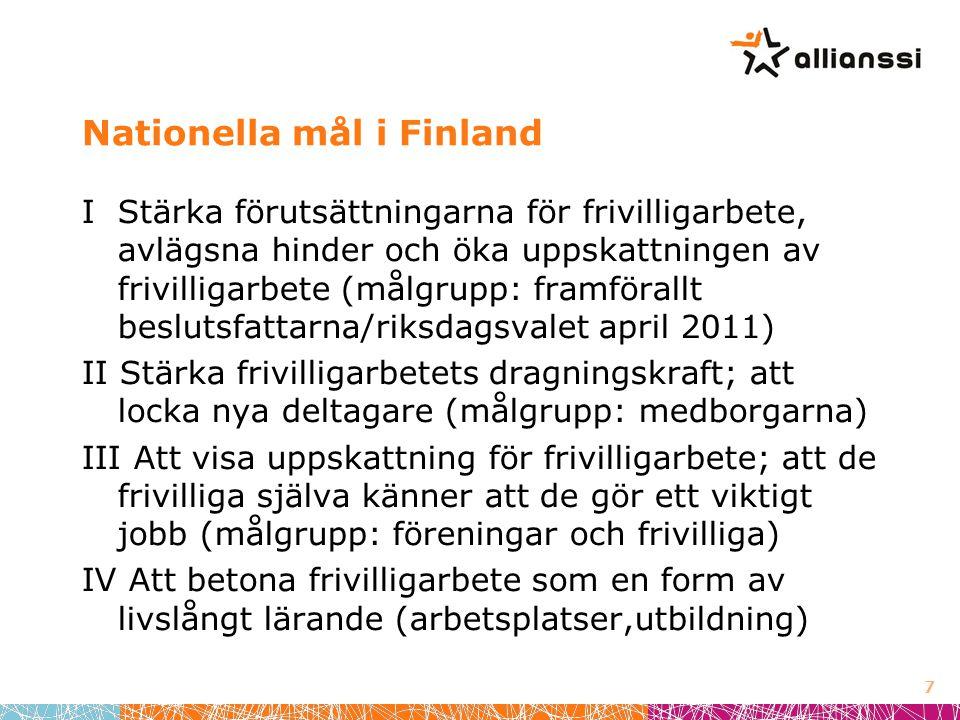 Nationella mål i Finland I Stärka förutsättningarna för frivilligarbete, avlägsna hinder och öka uppskattningen av frivilligarbete (målgrupp: framförallt beslutsfattarna/riksdagsvalet april 2011) II Stärka frivilligarbetets dragningskraft; att locka nya deltagare (målgrupp: medborgarna) III Att visa uppskattning för frivilligarbete; att de frivilliga själva känner att de gör ett viktigt jobb (målgrupp: föreningar och frivilliga) IV Att betona frivilligarbete som en form av livslångt lärande (arbetsplatser,utbildning) 7