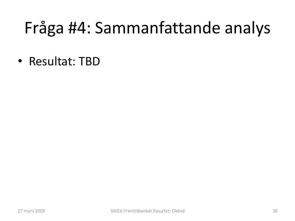 Fråga #4: Sammanfattande analys • Resultat: TBD 27 mars 2009SWEA Framtidsenkät Resultat: Okänd36