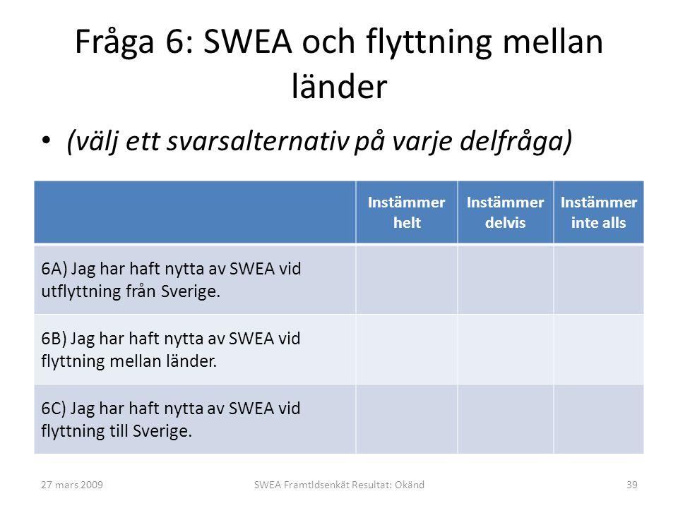 Fråga 6: SWEA och flyttning mellan länder • (välj ett svarsalternativ på varje delfråga) Instämmer helt Instämmer delvis Instämmer inte alls 6A) Jag har haft nytta av SWEA vid utflyttning från Sverige.