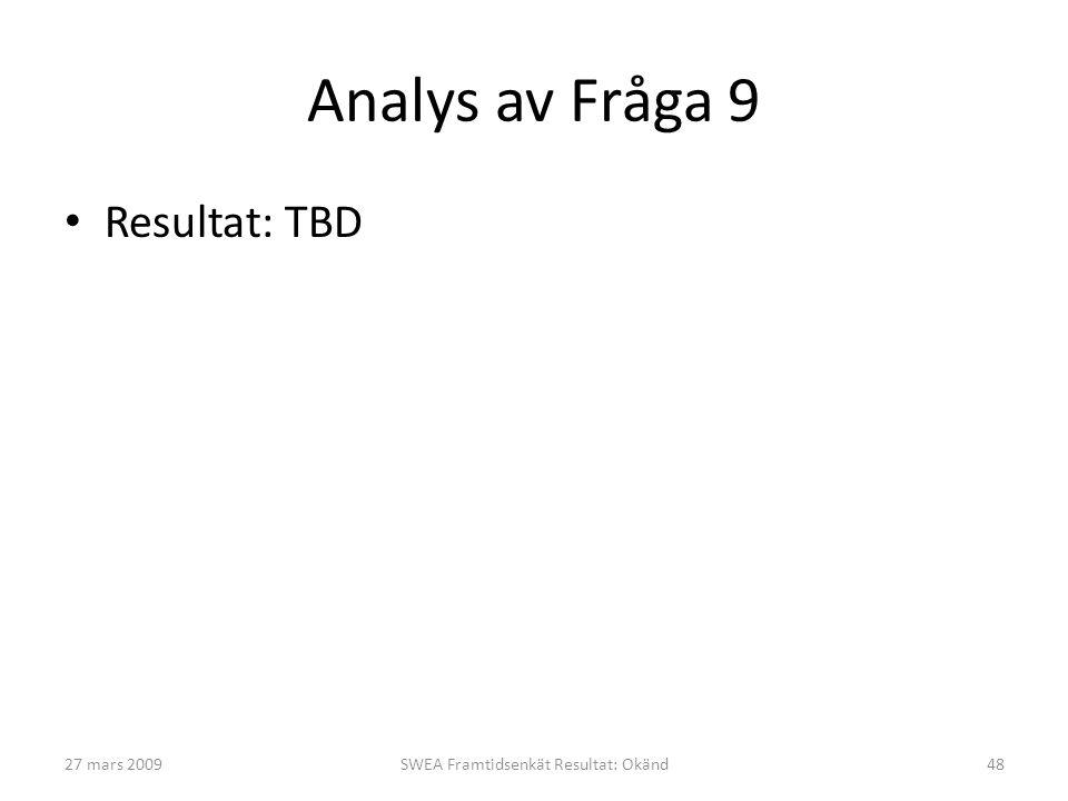 Analys av Fråga 9 • Resultat: TBD 27 mars 2009SWEA Framtidsenkät Resultat: Okänd48