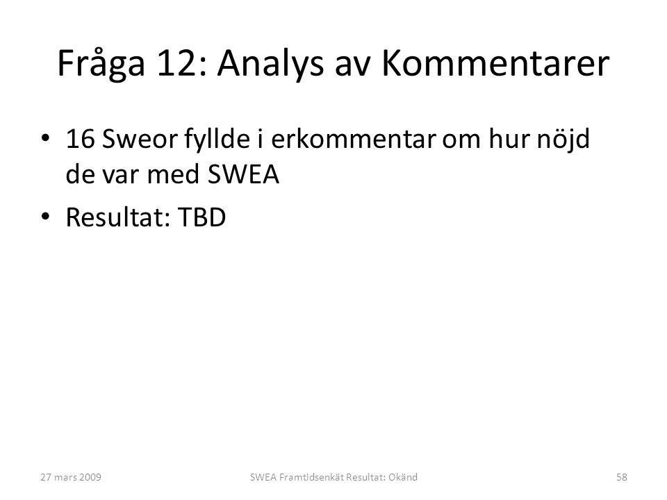Fråga 12: Analys av Kommentarer • 16 Sweor fyllde i erkommentar om hur nöjd de var med SWEA • Resultat: TBD 27 mars 2009SWEA Framtidsenkät Resultat: O
