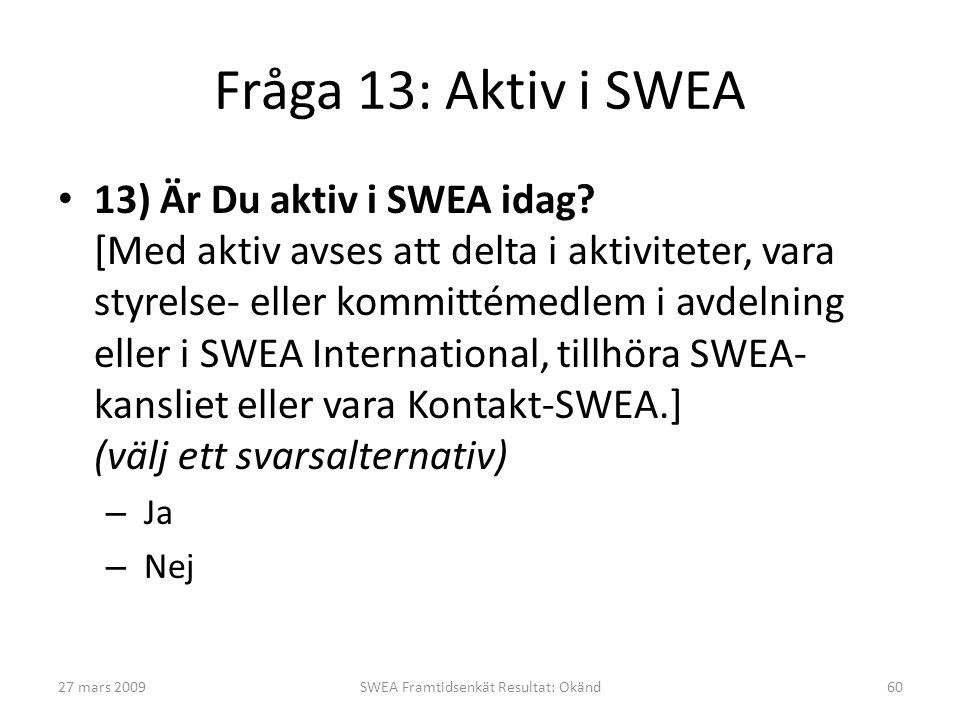 Fråga 13: Aktiv i SWEA • 13) Är Du aktiv i SWEA idag? [Med aktiv avses att delta i aktiviteter, vara styrelse- eller kommittémedlem i avdelning eller