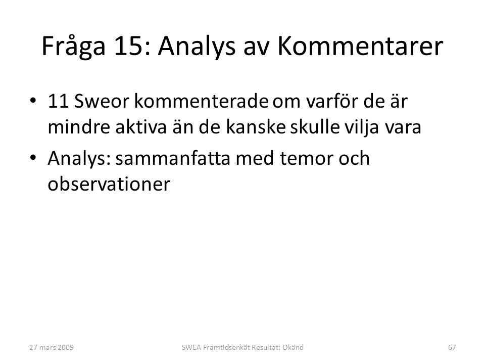 Fråga 15: Analys av Kommentarer • 11 Sweor kommenterade om varför de är mindre aktiva än de kanske skulle vilja vara • Analys: sammanfatta med temor och observationer 27 mars 2009SWEA Framtidsenkät Resultat: Okänd67