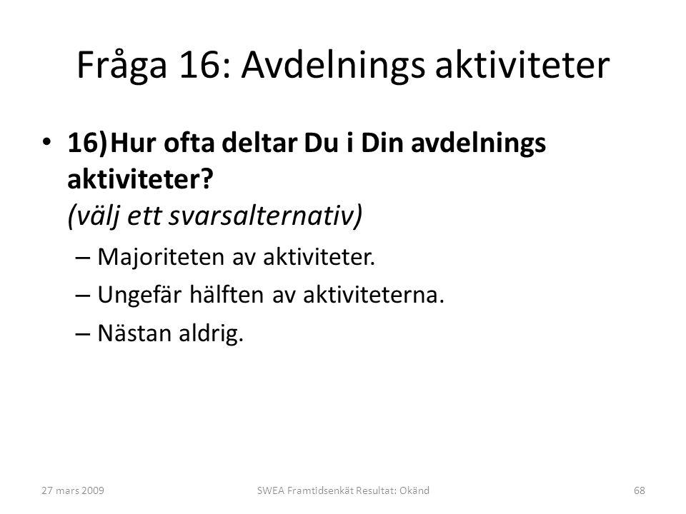 Fråga 16: Avdelnings aktiviteter • 16)Hur ofta deltar Du i Din avdelnings aktiviteter? (välj ett svarsalternativ) – Majoriteten av aktiviteter. – Unge