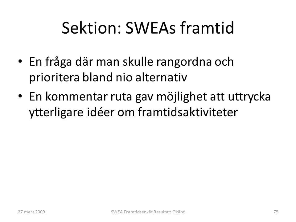 Sektion: SWEAs framtid • En fråga där man skulle rangordna och prioritera bland nio alternativ • En kommentar ruta gav möjlighet att uttrycka ytterligare idéer om framtidsaktiviteter 27 mars 2009SWEA Framtidsenkät Resultat: Okänd75