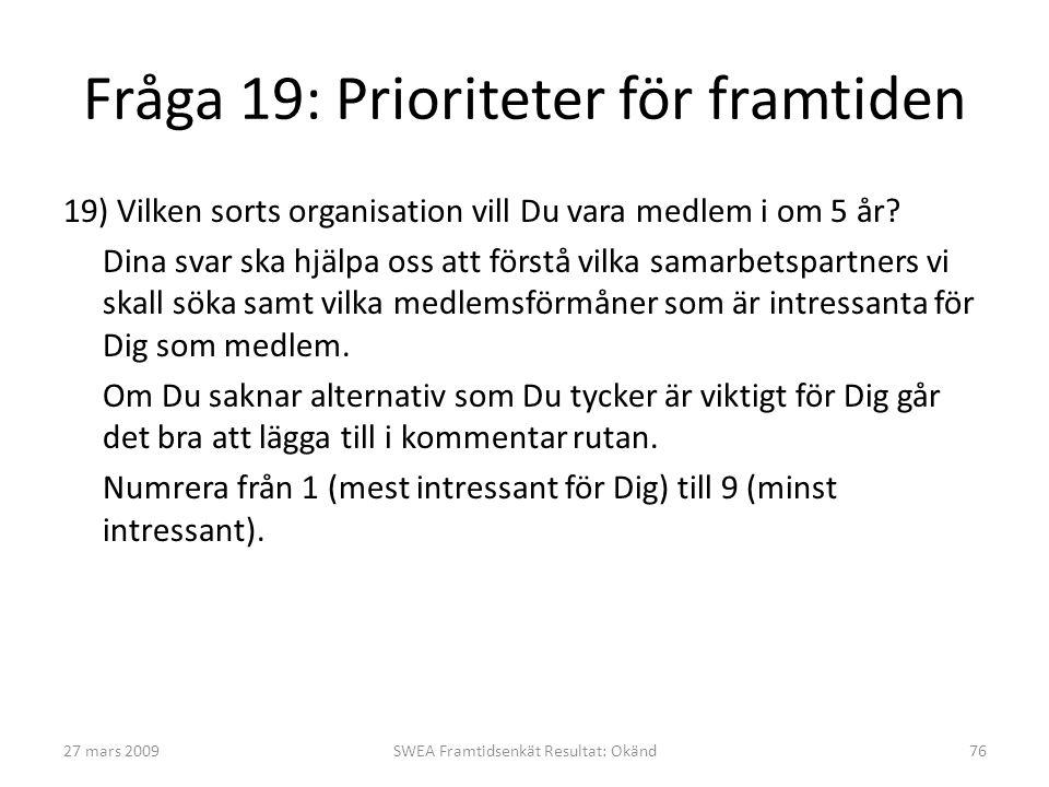 Fråga 19: Prioriteter för framtiden 19) Vilken sorts organisation vill Du vara medlem i om 5 år.