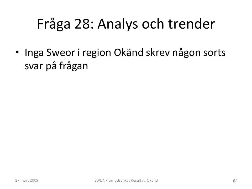 Fråga 28: Analys och trender • Inga Sweor i region Okänd skrev någon sorts svar på frågan 27 mars 2009SWEA Framtidsenkät Resultat: Okänd87