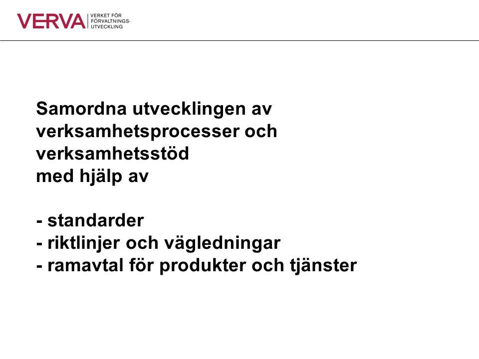 Samordna utvecklingen av verksamhetsprocesser och verksamhetsstöd med hjälp av - standarder - riktlinjer och vägledningar - ramavtal för produkter och