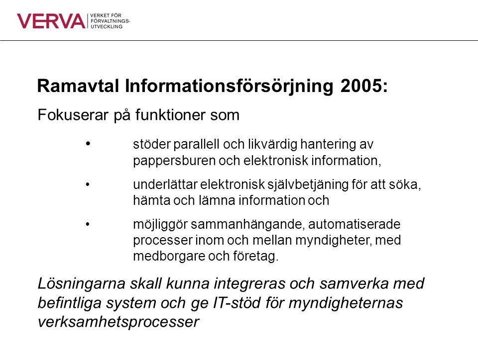 Ramavtal Informationsförsörjning 2005: Fokuserar på funktioner som • stöder parallell och likvärdig hantering av pappersburen och elektronisk informat