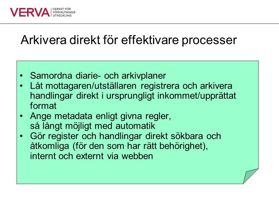 Arkivera direkt för effektivare processer •Samordna diarie- och arkivplaner •Låt mottagaren/utställaren registrera och arkivera handlingar direkt i ur