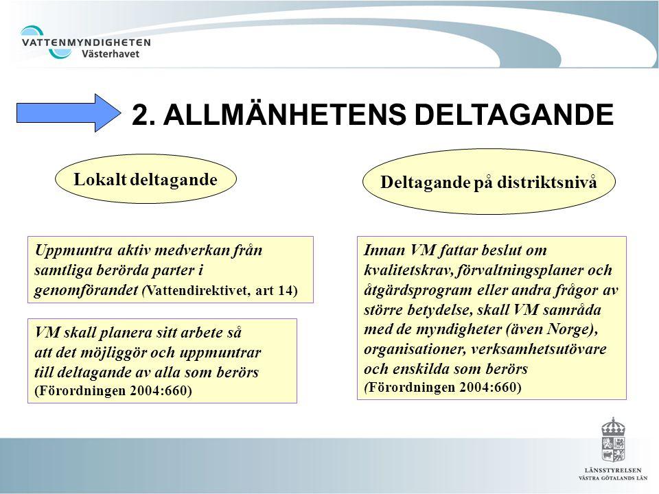 2. ALLMÄNHETENS DELTAGANDE Uppmuntra aktiv medverkan från samtliga berörda parter i genomförandet (Vattendirektivet, art 14) VM skall planera sitt arb