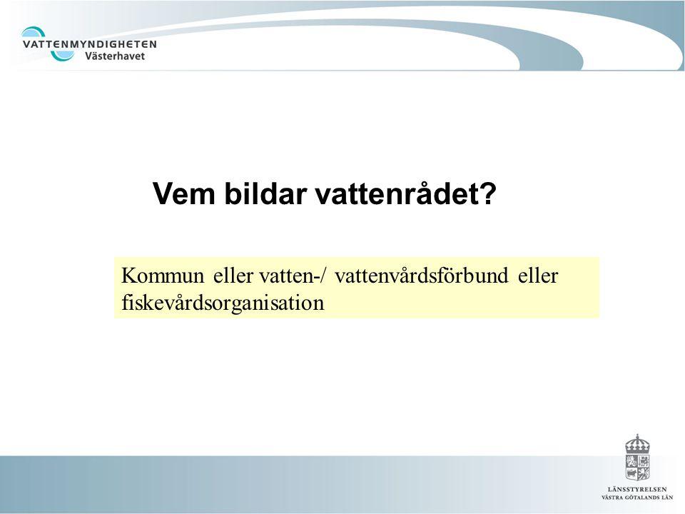 Vem bildar vattenrådet? Kommun eller vatten-/ vattenvårdsförbund eller fiskevårdsorganisation
