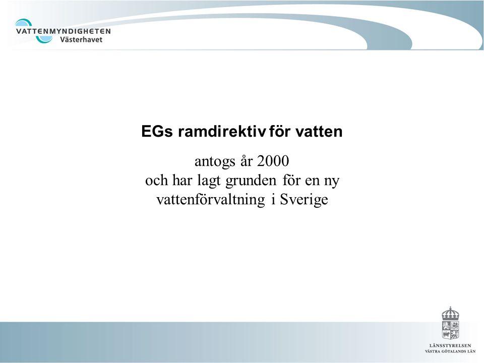 EGs ramdirektiv för vatten antogs år 2000 och har lagt grunden för en ny vattenförvaltning i Sverige